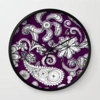 burgundy Wall Clocks featuring Burgundy by Marcela Caraballo
