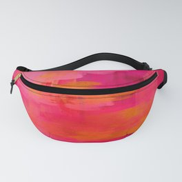 """""""Abstract brushstrokes in pastel pinks and solar orange"""" Fanny Pack"""