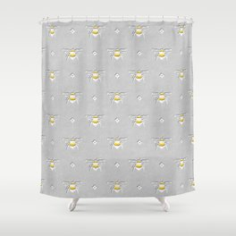 Bumblebee Stamp on Grey Shower Curtain