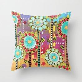 Big flowers Throw Pillow