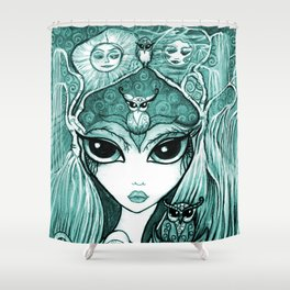 Owlette, The Owl Queen, in Aqua.  Original Illustration Artwork by Sheridon Rayment  Shower Curtain