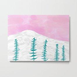 Snow and Tree Metal Print