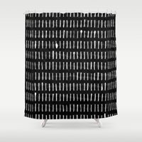 woodstock Shower Curtains featuring White on Black Woodstock Pattern by LacyDermy