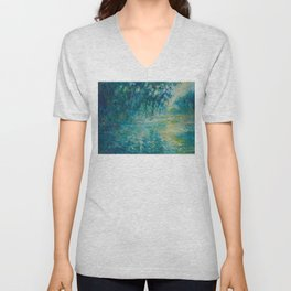 Claude Monet Impressionist Landscape Oil Painting Morning on the Seine Unisex V-Neck
