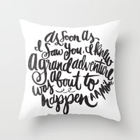 grand theft auto Throw Pillows featuring grand adventure by Matthew Taylor Wilson