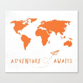 Adventure Map - Retro Orange on White Canvas Print