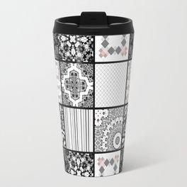 Patchwork . Squares of black, gray Patterns . Travel Mug