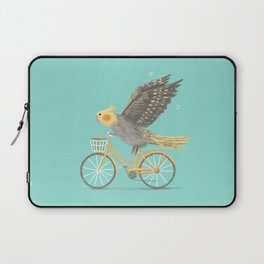 Cockatiel on a Bicycle Laptop Sleeve