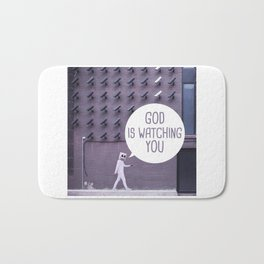 Quote - God is watching you Bath Mat