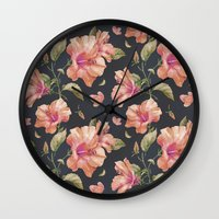 hibiscus Wall Clocks featuring Hibiscus by 83 Oranges™