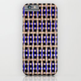 Wooden Weave With Blue Pattern iPhone Case