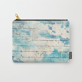 speckled blue distressed painted brick wall ambient decor rustic brick effect Carry-All Pouch