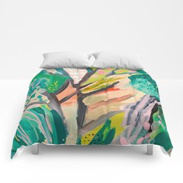 tree and leaf : abstract painting Comforters