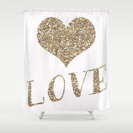 Glitter Heart Shower Curtain