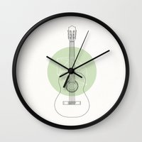 guitar Wall Clocks featuring Guitar by Florent Bodart / Speakerine