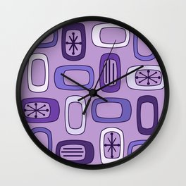 Midcentury MCM Rounded Rectangles Purple Wall Clock