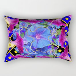 Abstract Blue-Cream Purple Morning Glories Art Rectangular Pillow