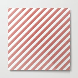 Camellia Pink and White Candy Cane Stripes Metal Print