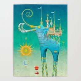 Castellini Elephantini Azure Poster