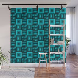 Convex rhombuses of light blue squares with dark rectangles. Wall Mural