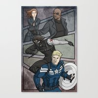 the winter soldier Canvas Prints featuring Winter Soldier by DeanDraws