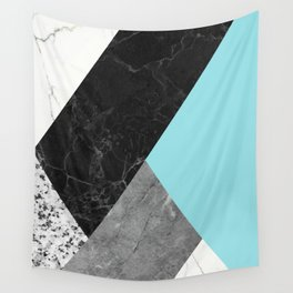 Black and White Marbles and Pantone Island Paradise Color Wall Tapestry