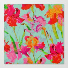 bright abstract iris on turquoise Canvas Print