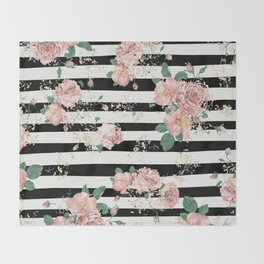 VINTAGE FLORAL ROSES BLACK AND WHITE STRIPES Throw Blanket