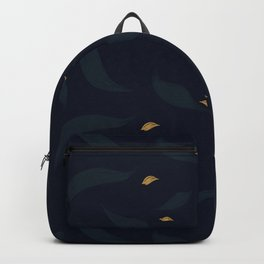 dark spring leafs with gold petals Backpack