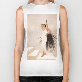 Minimal Woman with a Palm Leaf Biker Tank