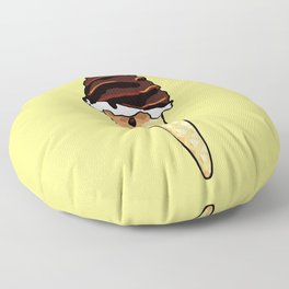 Ice Cream in a cone - yellow background Floor Pillow