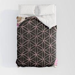 Flower of Life Rose Gold Garden on Black Comforters
