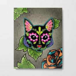 Black Cat - Day of the Dead Sugar Skull Kitty Metal Print