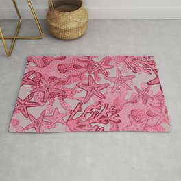 Coral reef and Starfish pink watercolor Rug