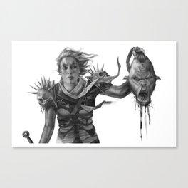 Warrior 2 Black and White Canvas Print