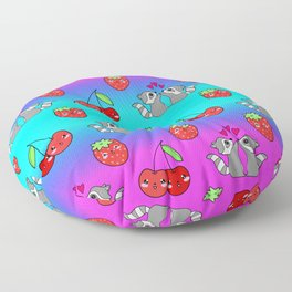 Cute happy cuddling funny playful Kawaii baby raccoons in love, pink hearts, red summer strawberries, sweet cherries colorful blue and pink rainbow design. Nursery decor. Floor Pillow
