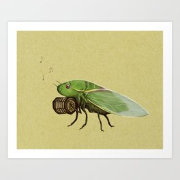 Cicada Playing a Sqeezebox Art Print