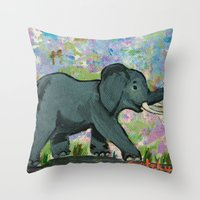 baby elephant Throw Pillows featuring Baby Elephant by gretzky