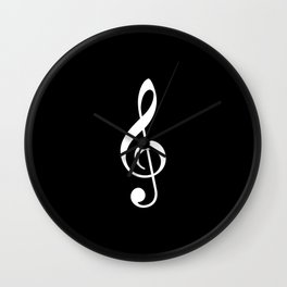 Black and White - Treble Clef Wall Clock