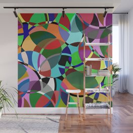Pastel Pieces II - Abstract, textured, pastel, arcs and circles design Wall Mural