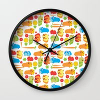 guinea pig Wall Clocks featuring Bright Guinea Pig Vegetable Patch by Upcyclepatch