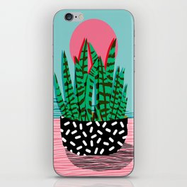 Edgy - wacka potted indoor house plant hipster retro throwback minimal 1980s 80s neon pop art iPhone Skin