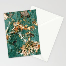 Macelas - Small flowers digitally stylized green marble Stationery Cards