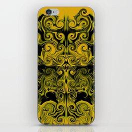 Yellow swirls art iPhone Skin