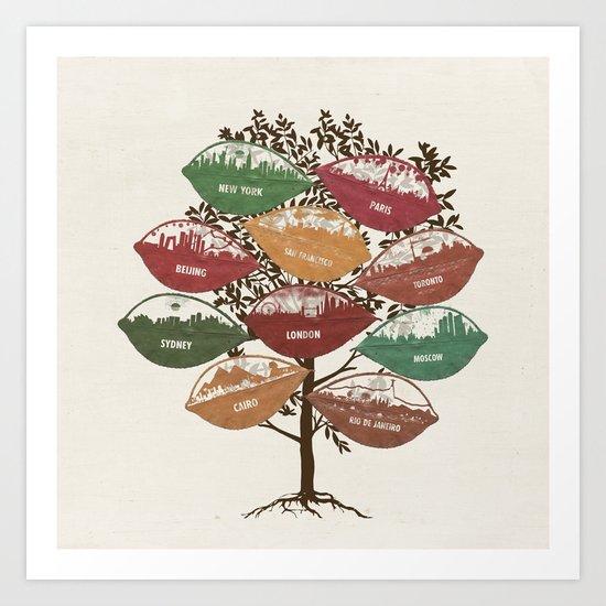 Leaf City Tree Art Print
