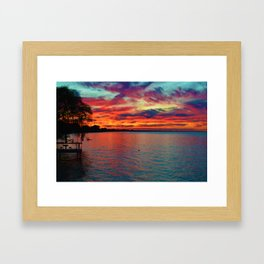 Sunset on Lake St. Clair in Belle River, Ontario, Canada Framed Art Print