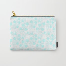 Hand painted watercolor teal polka dots floral pattern Carry-All Pouch
