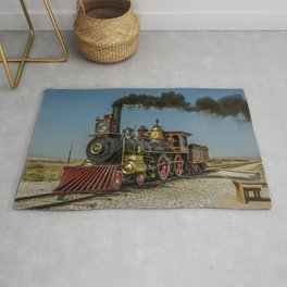 UP 119 Golden Spike Utah Steam Locomotive Historic Train Rug