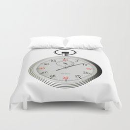Silver Stop Watch Duvet Cover