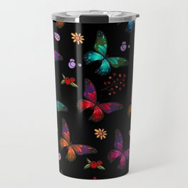 Pretty Vibrant Colorful Butterflies Pattern Travel Mug